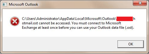 Hotmail.ost cannot be accessed error