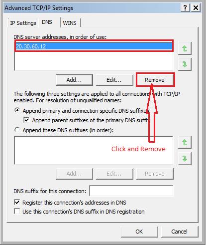 Remove Winsnare DNS setting