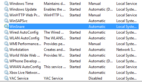 Remove WinSnare virus from running services