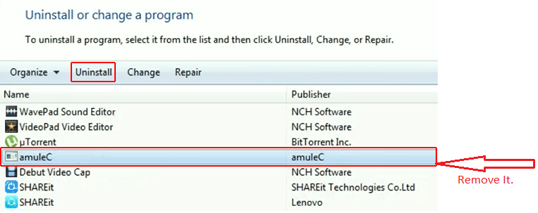Uninstall amuleC virus