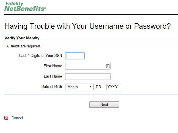 Fidelity Reset Password